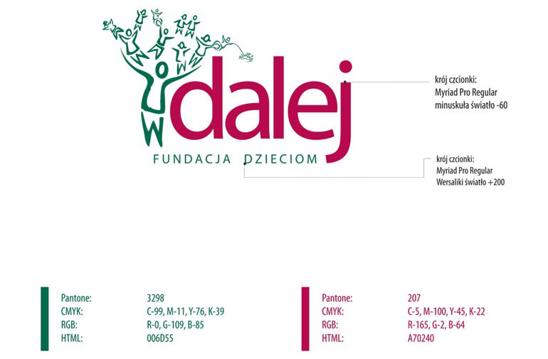 Projekt graficzny loga fundacji Dalej