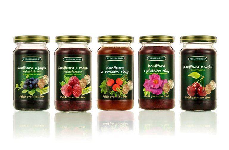 Etykiety konfitur dla firmy Premium Rosa