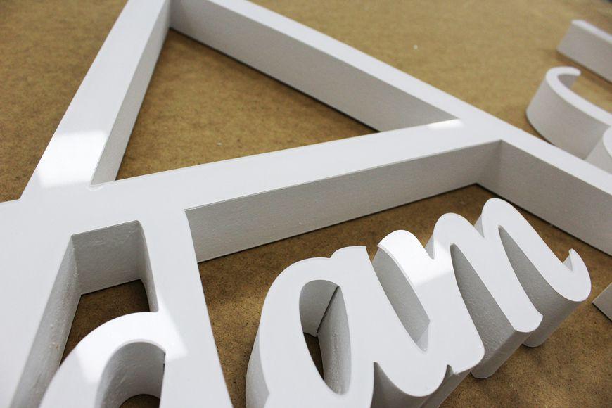 litery przestrzenne - styrodur z licem z pleksy