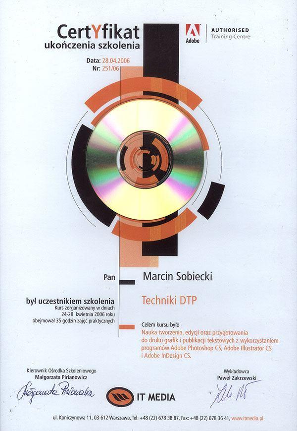 Certyfikat ukończenia szkolenia Techniki DTP
