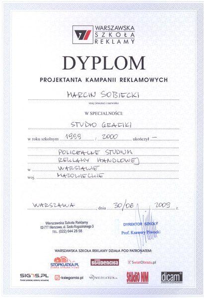 Dyplom projektanta kampanii reklamowych