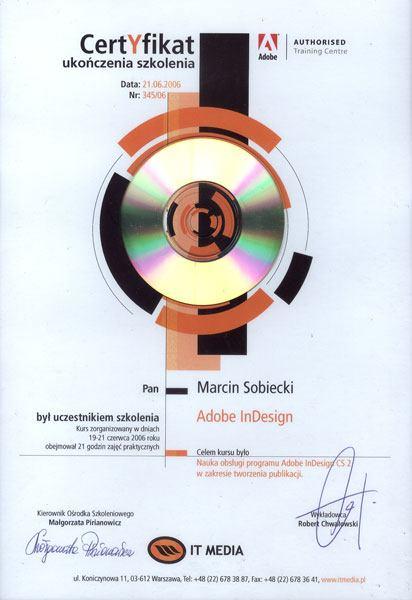 Certyfikat ukończenia szkolenia Abobe Indesign