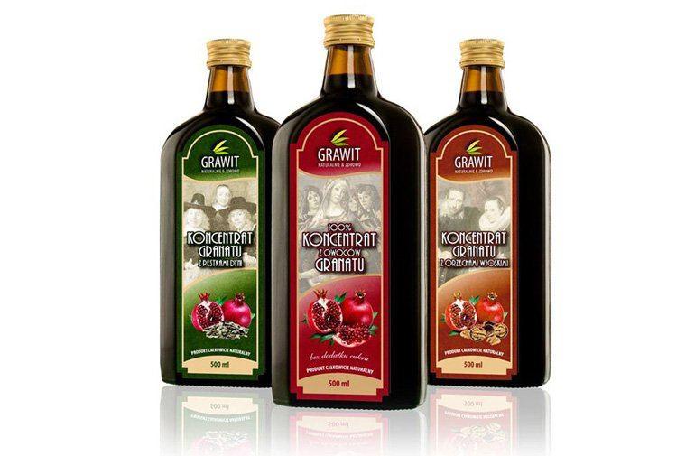 Seria etykiet owoców granatu dla firmy VITAFAN