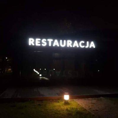 RESTAURACJA - białe litery podświetlane